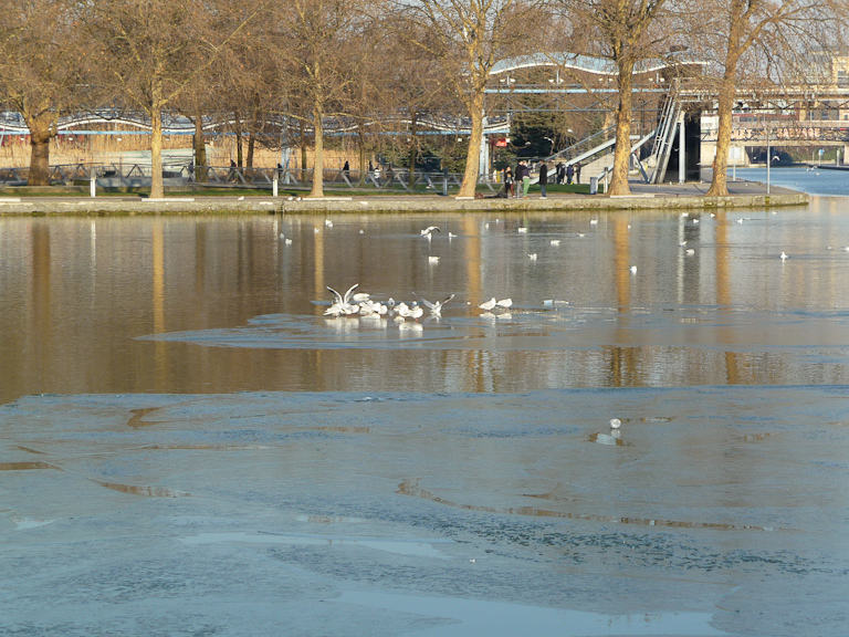 Canal de l'Ourcq gelé en hiver, Paris 19e (75)
