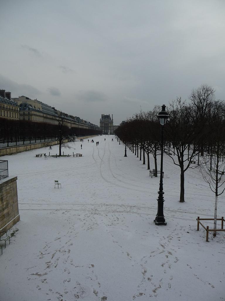 Neige sur le Jardin des Tuileries, Paris 1er (75)