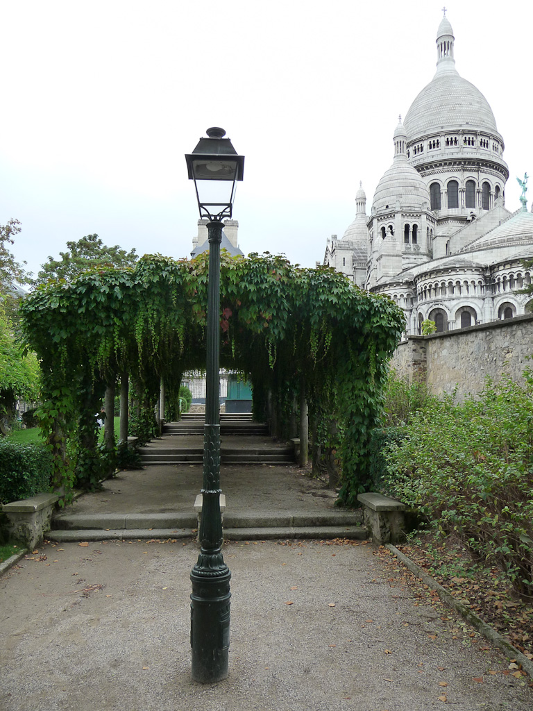 Pergola de vigne-vierge dans le parc Marcel Bleustein-Blanchet, parc de la Turlure, à  Montmartre, Paris 18e (75)