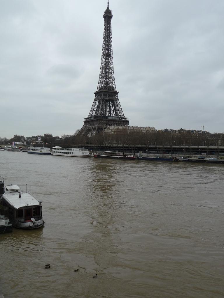 La Seine en crue au pied de la Tour Eiffel dans Paris