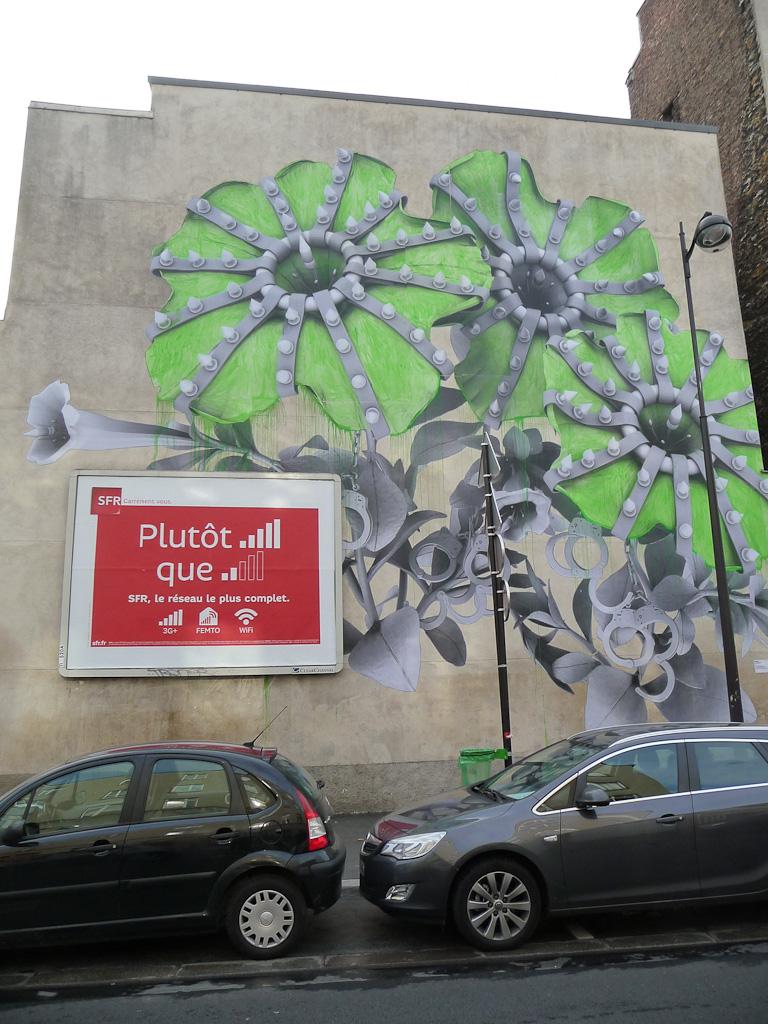 Fresque (street art) dans la rue de la Fontaine-au-roi, Paris 10e (75)