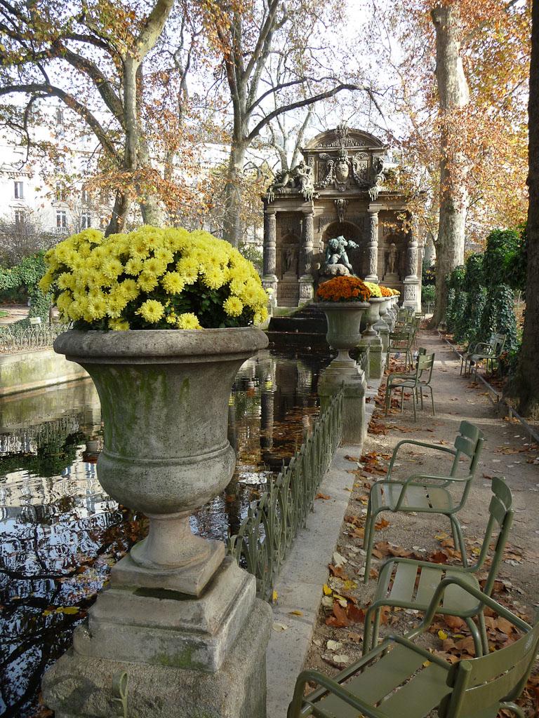 Chrysanthèmes dans des vases Médicis, Fontaine Médicis, Jardin du Luxembourg en automne, Paris 6e (75)