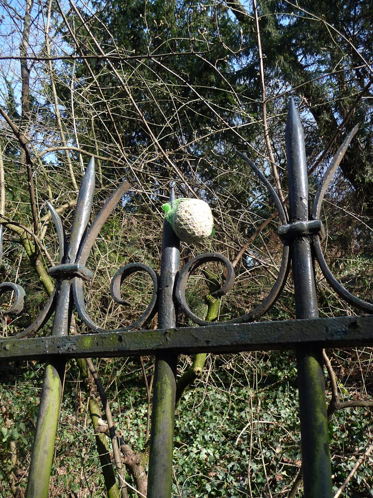Boule de graisse accrochée à la grille du Parc des Buttes-Chaumont, Paris 19e (75)