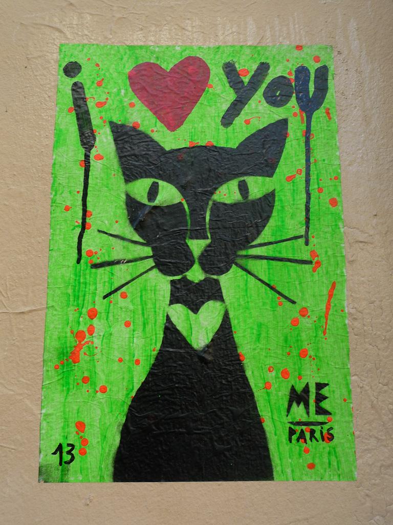 Street art : I love you Paris, Me/Paris 13, à  Montmartre, Paris 18e (75)