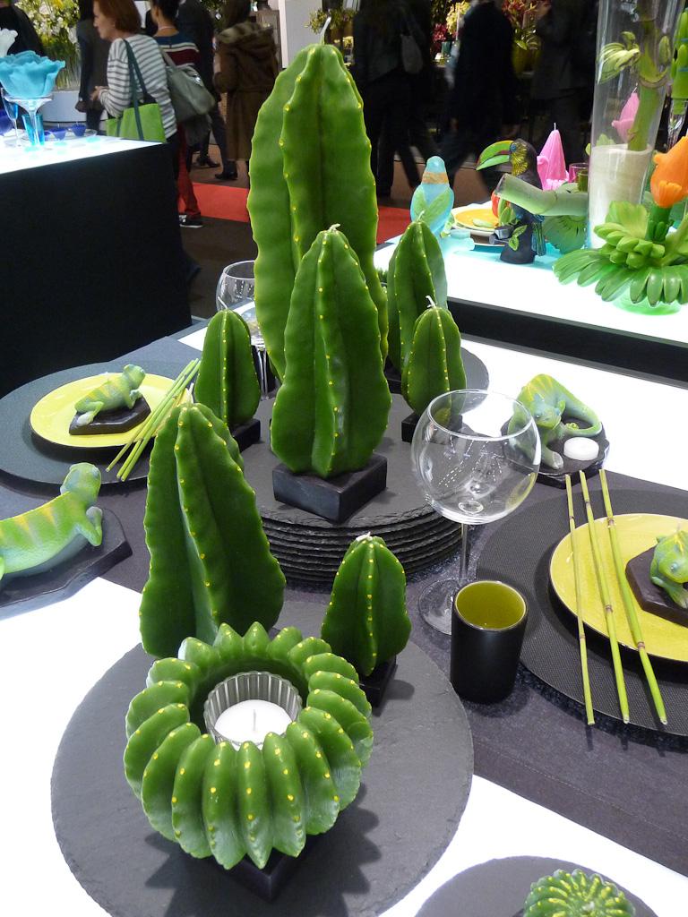 Collection Jardin de cactus, bougies Point à  la Ligne, salon Maison & Objet 2012, Parc des Expositions Paris Nord Villepinte