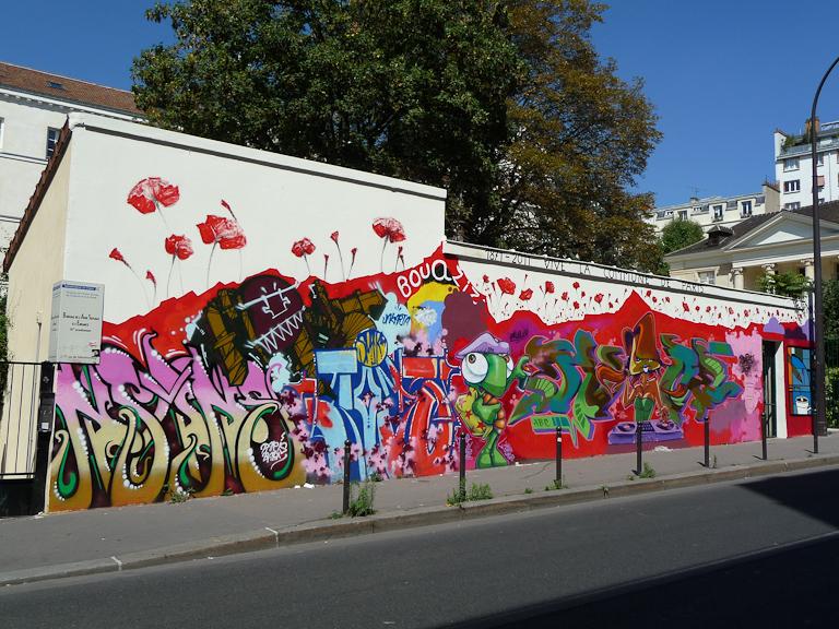 Fresque (street art) sur le mur du Carré de Baudouin, rue de Ménilmontant, Paris 20e (75)
