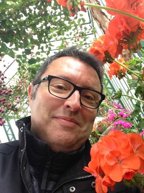 Selfie Alain Delavie dans les Serres royales de Laeken (Belgique), avril 2014