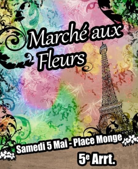"""Pour la 3e année consécutive, un marché aux fleurs, le """"marché du sourire"""" aura lieu place Monge à Paris le samedi 5 mai 2012."""