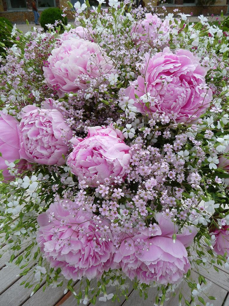 Bouquet de pivoines et de fleurettes, Journées des Plantes de Courson, Printemps 2012, Domaine de Courson, Courson-Monteloup (Essonne)