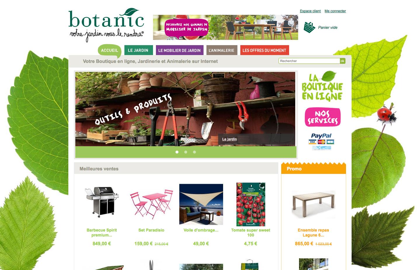 Boutique en ligne botanic, capture d'écran