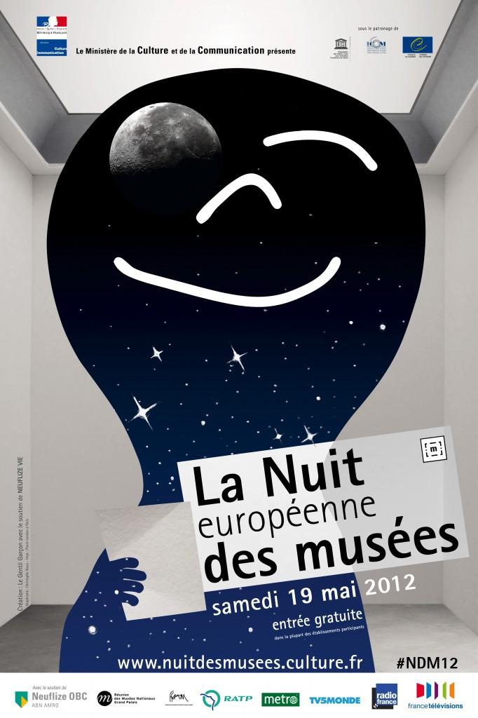 Affiche de la Nuit européenne des musées 2012 (Création Le Gentil Garçon avec le soutien de NEUFLIZE VIE, graphisme Christophe Naux)