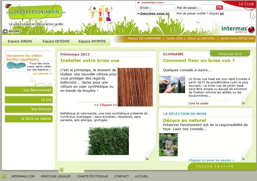 Page d'accueil du site Internet Décorer son jardin (Intermas Gardening)