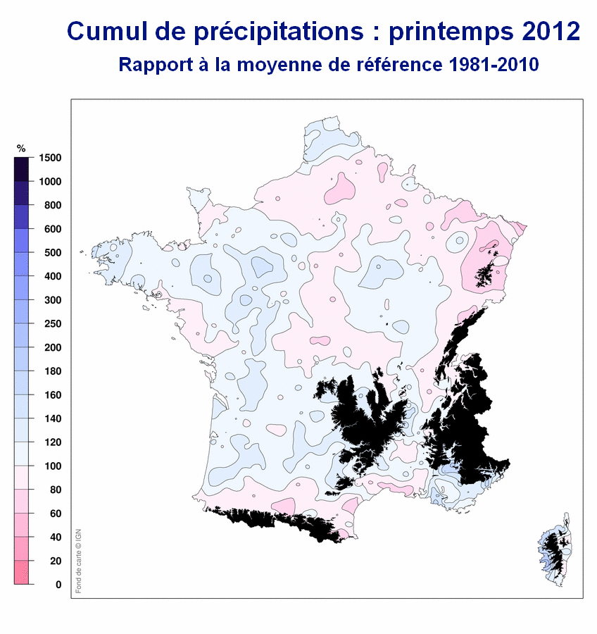 Cumul de précipitations en France : Printemps 2012 / Météo France
