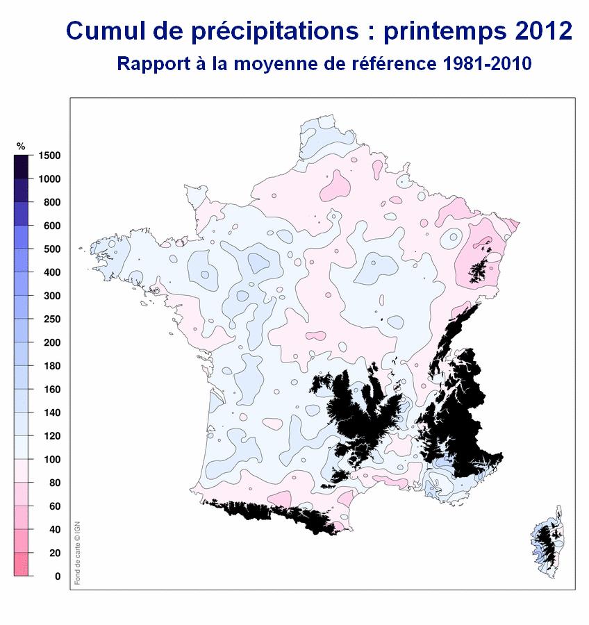 Cumul de précipitations en France : Printemps 2012 / Météo France