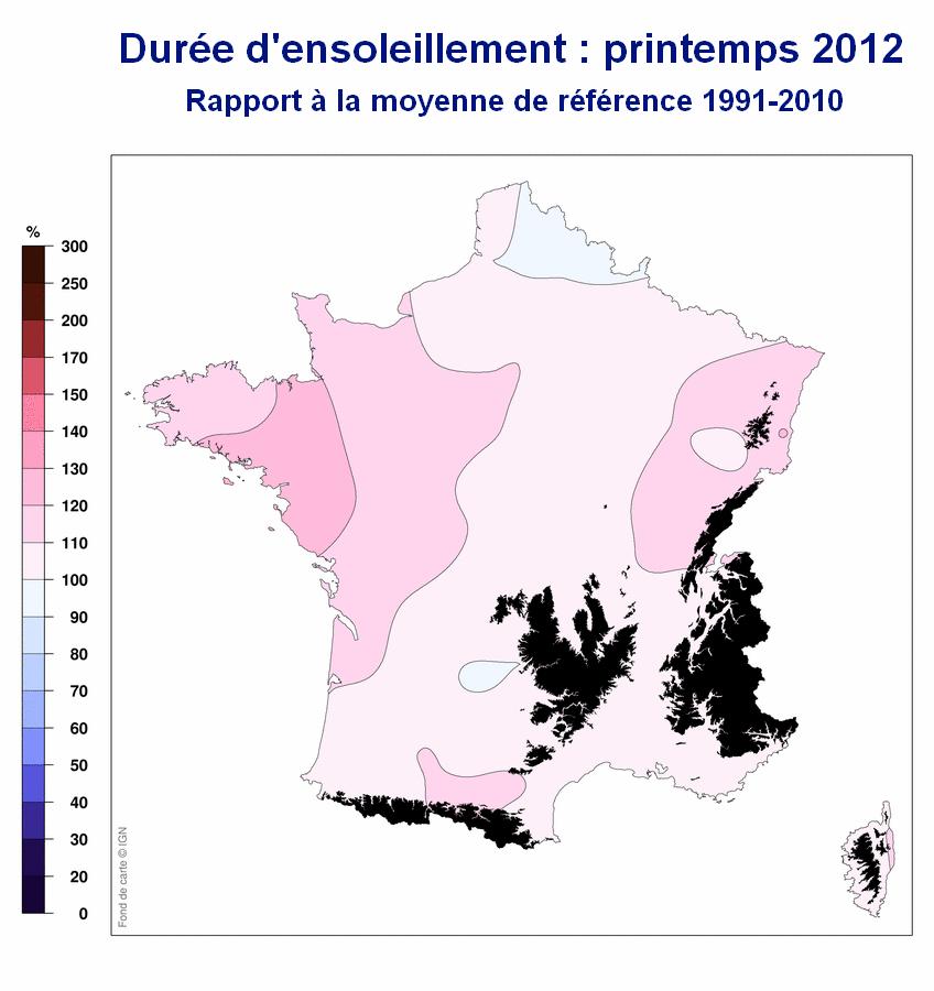 Durée d'ensoleillement en France : Printemps 2012 / Météo France