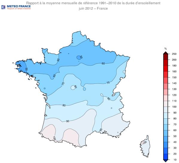 Écart à la moyenne mensuelle de référence 1991-2010 de la durée d'ensoleillement 1er au 28 juin 2012 - France / Météo France