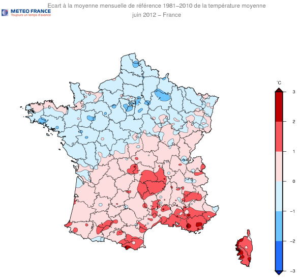 Écart à la moyenne mensuelle de référence 1981-2010 de la température maximale 1er au 28 juin 2012 - France / Météo France