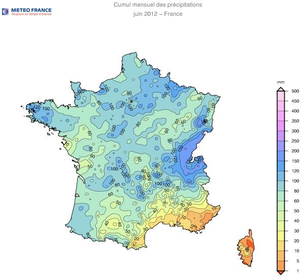 Cumul mensuel des précipitations du 1er au 28 juin 2012 en France / Météo France