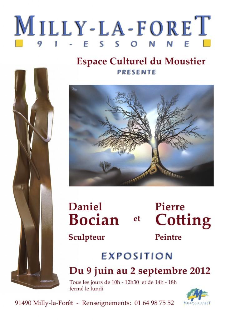 Exposition de sculptures de Daniel Bocian et de peintures de Pierre Cotting à Milly-la-Forêt (Essonne)