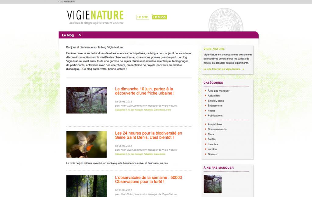 Capture d'écran de la page d'accueil du blog Vigie Nature