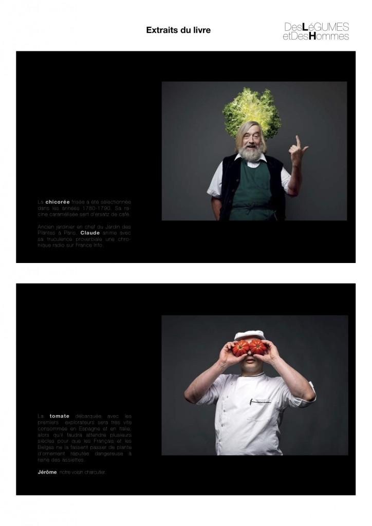 Page du livre Des légumes et des hommes, photographies Joëlle Dollé, Éditions Le Chêne