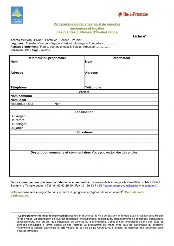 Fiche de recensement des variétés anciennes & locales d'Île de France