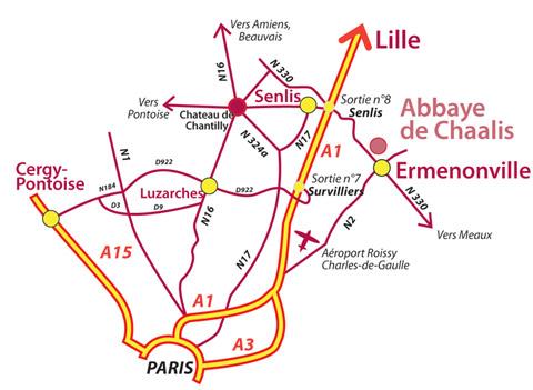 Plan d'accès à l'Abbaye de Chaalis (Oise)