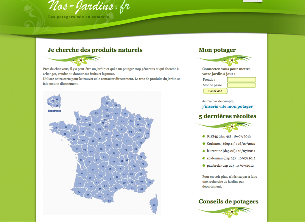 Capture d'écran de la page d'accueil du site Nos-Jardins.fr