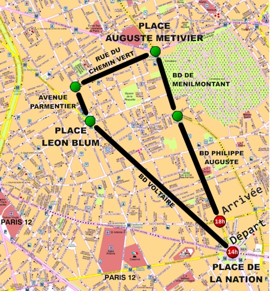 Parcours du carnaval tropical de Paris 2012