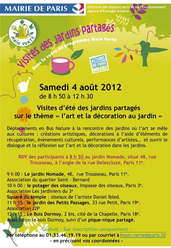 Affiche : visite d'été de jardins partagés parisiens, samedi 4 août 2012