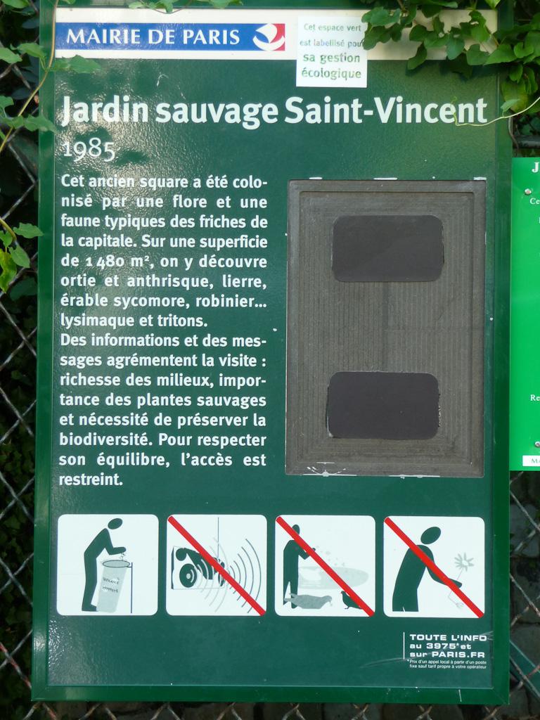 Jardin sauvage Saint-Vincent, rue Saint-Vincent, Montmartre, Paris 18e (75)