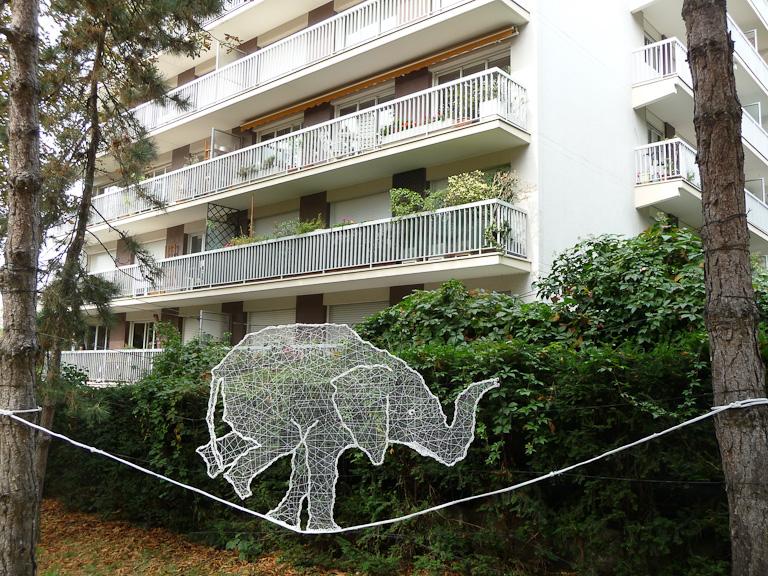 Funambule, Anastassia Elias, square Colbert, 159 rue de Charonne, Paris 11e (75)
