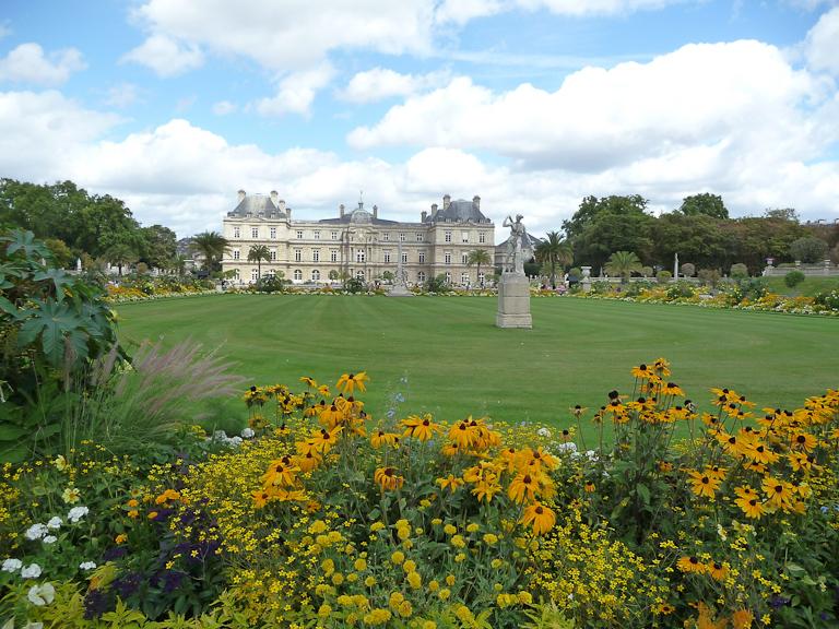 Décorations florales estivales dans les tons jaunes, jardin du Luxembourg, Paris 6e (75)