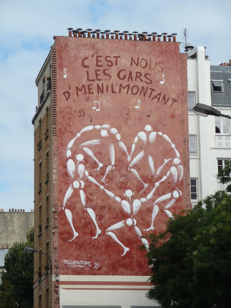 Fresque de Jérôme Mesnager le long de ma rue de Ménilmontants, Paris 20ème (75)