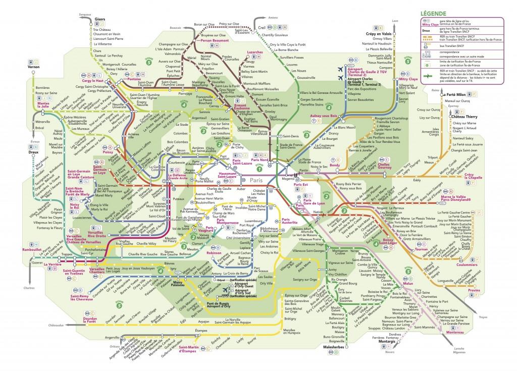 Carte du réseau transilien