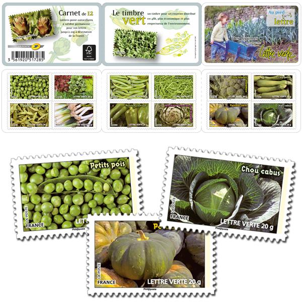 Carnet de timbres sur le thème des légumes de couleur verte