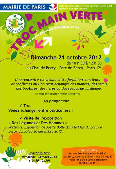 Troc Main Verte dimanche 21 octobre 2012 au Chai de Bercy Paris 12e