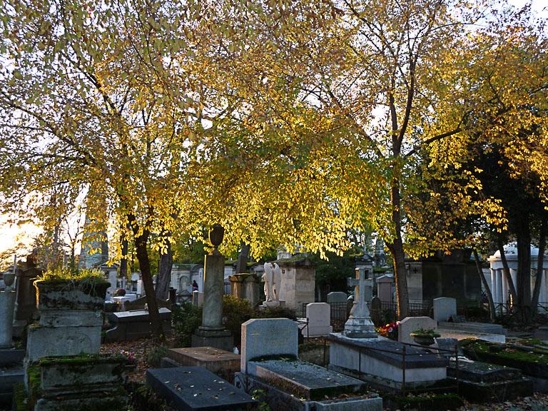Soleil couchant dans les feuillages d'automne, cimetière du Père Lachaise en automne, Paris 20e (75)