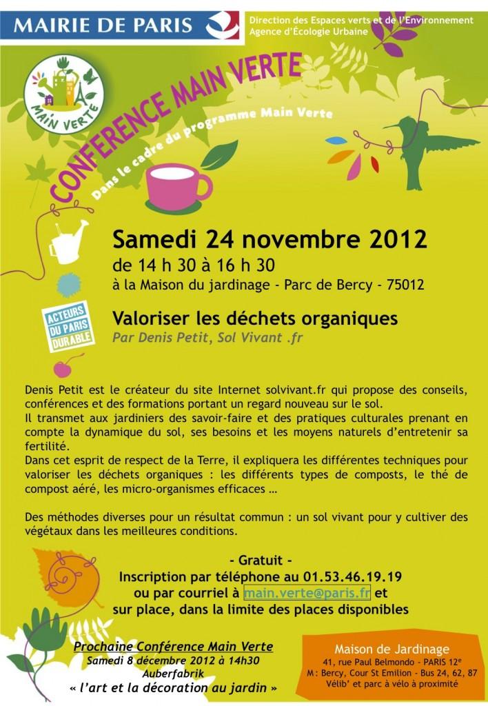 Conférence Main Verte : valoriser les déchets organiques