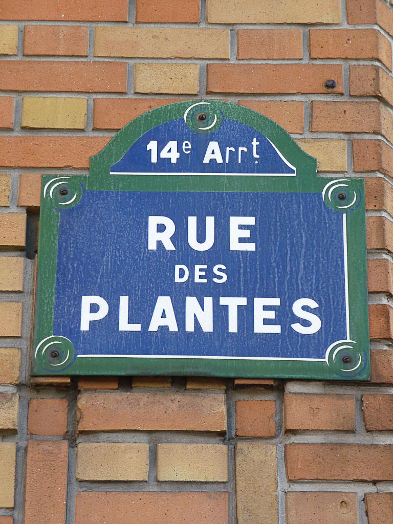 Plaque de la rue des Plantes, Paris 14e (75)