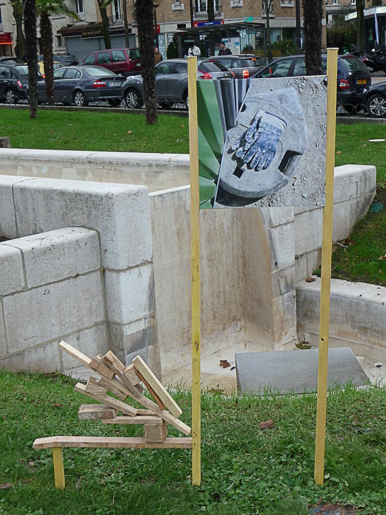 """Installation """"Les gants du Tram"""", Paule Kingleur, Porte Dorée, Paris 12e (75)"""