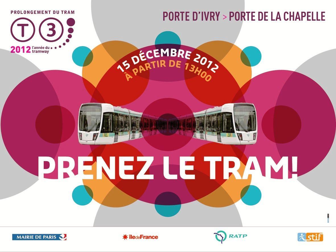 Inauguration du prolongement du tramway T3 le samedi 15 décembre 2012 à 13h