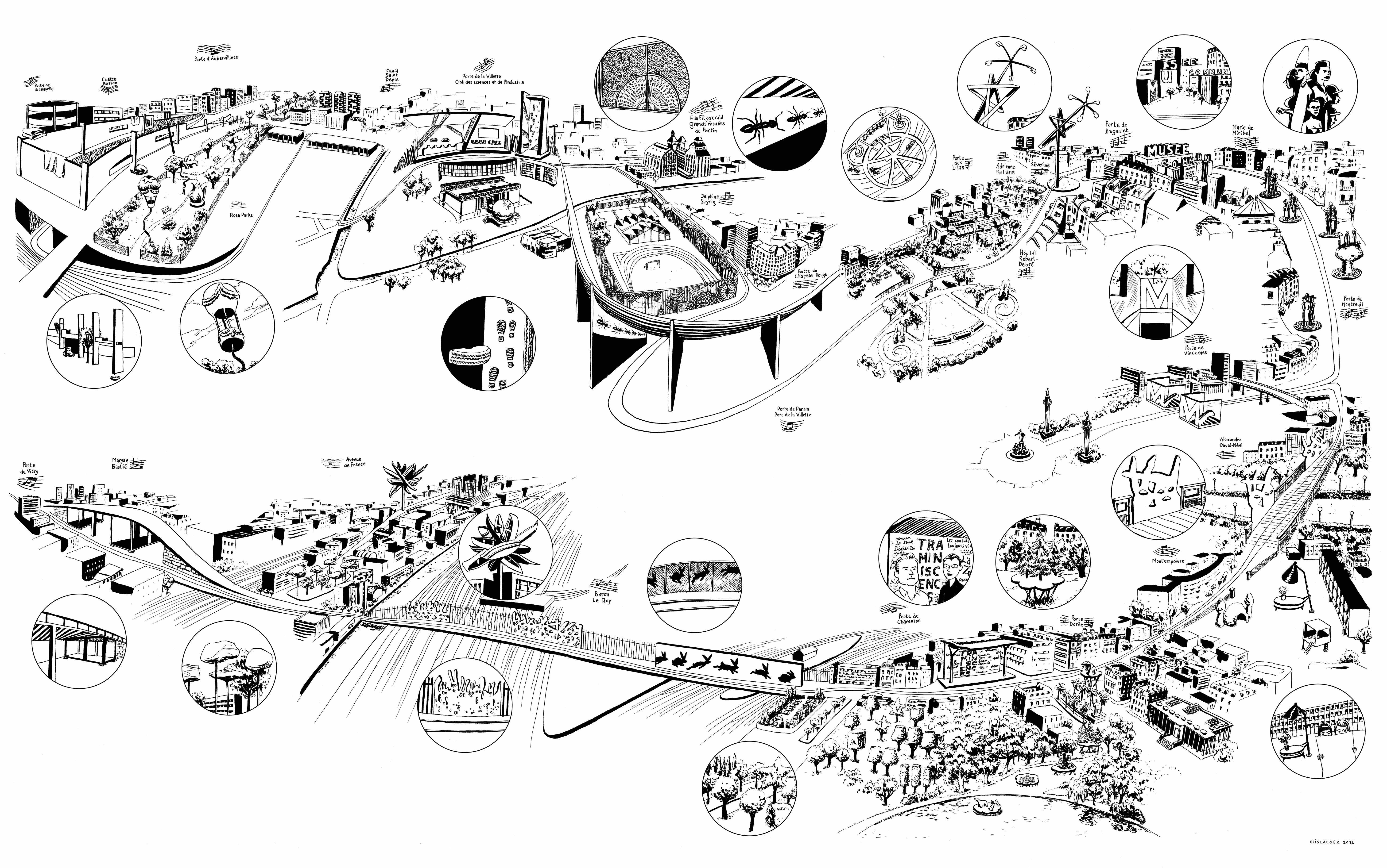 Carte des oeuvres d'art sur le parcours du tramway T3