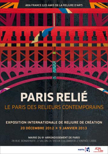 """Affiche de l'exposition """"Paris relié, le Paris des relieurs contemporains"""""""