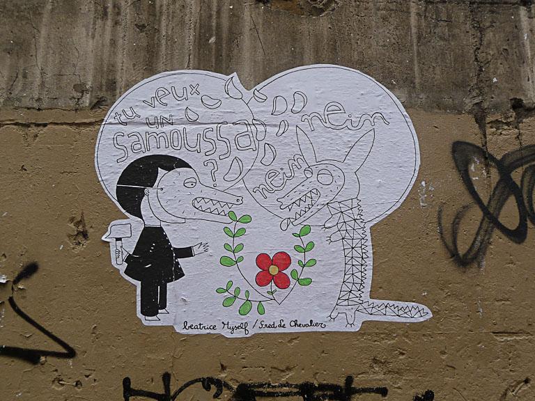 Collage de Fred Le Chevalier, art de la rue, rue de Torcy, Paris 18e (75)