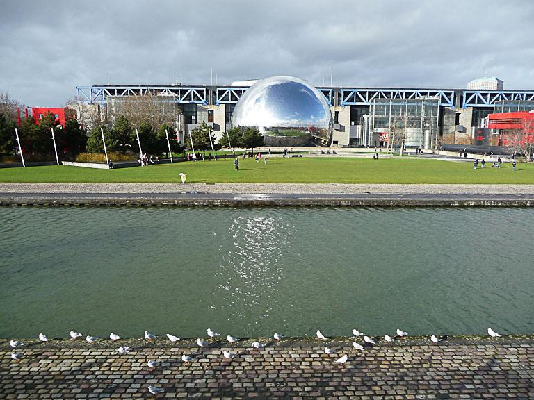 Mouettes sur la berge du canal de l'Ourcq dans le parc de la Villette, Paris 19e (75)