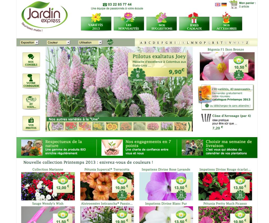 Capture d'écran de la page d'accueil du nouveau site Internet de Jardin Express