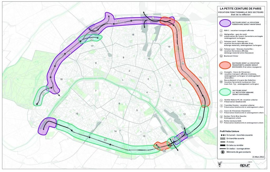Carte de la vocation fonctionnelle des secteurs de la Petite Ceinture de Paris – proposition de l'Apur