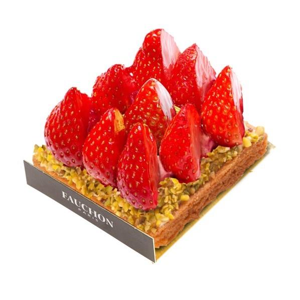 Entremets carré fraise, pâtisserie Fauchon