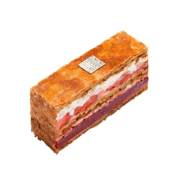Millefeuille fraise rhubarbe, pâtisserie Fauchon